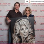 Carrie Underwood with her new Dolly Parton Painting